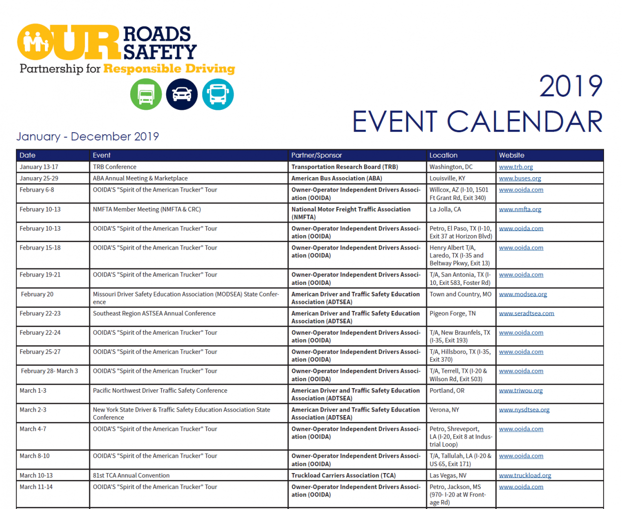 Our Roads Our Safety 2019 Event Calendar