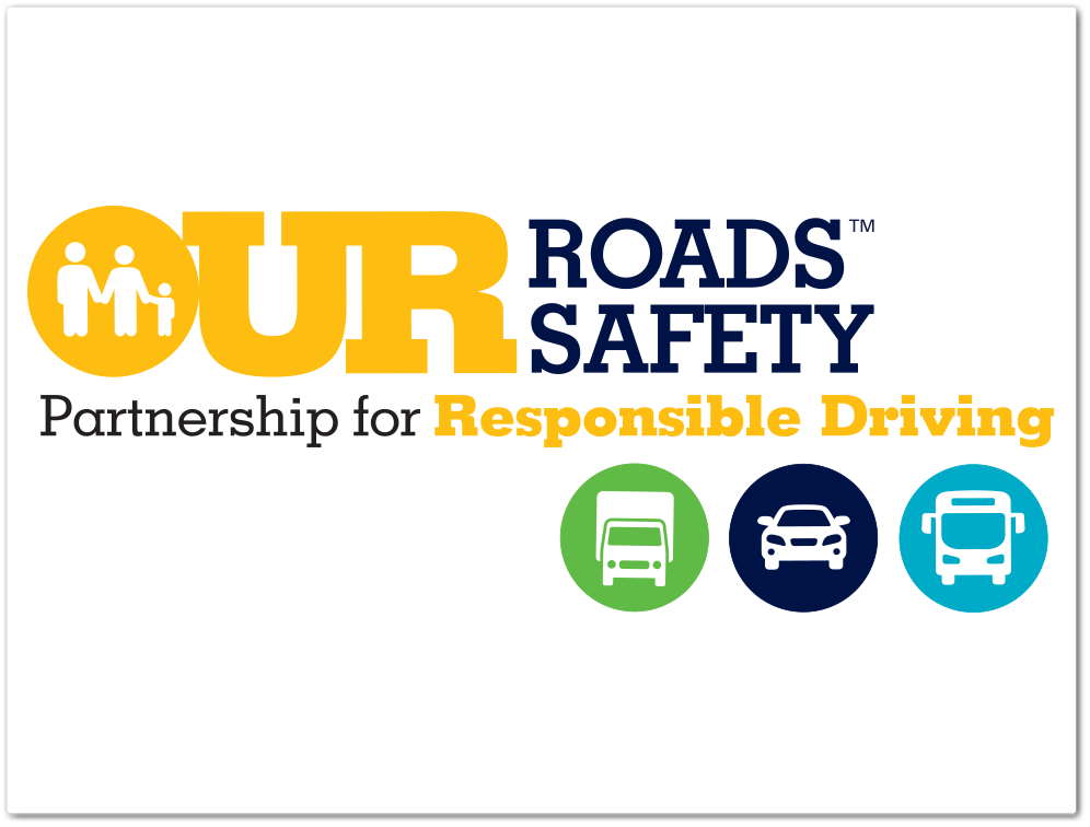 Our Roads Our Safety logo with icons
