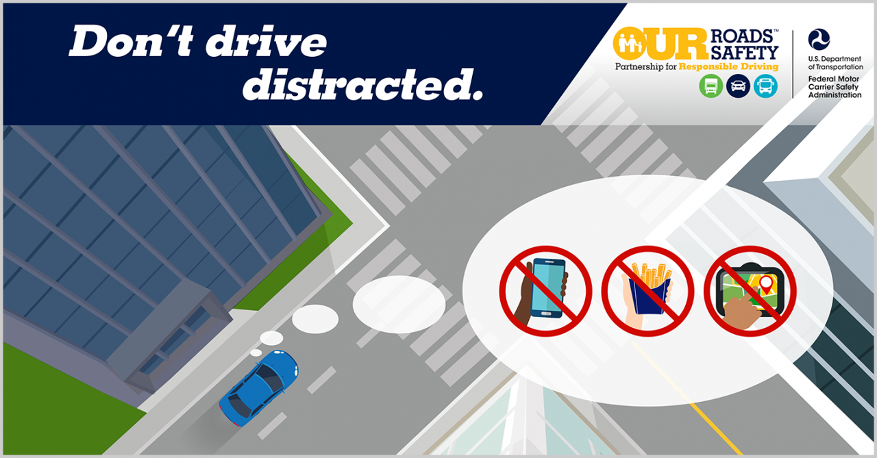 Graphic with thought bubble with phone, food and gps crossed out. Headline text reads: don't drive distracted.