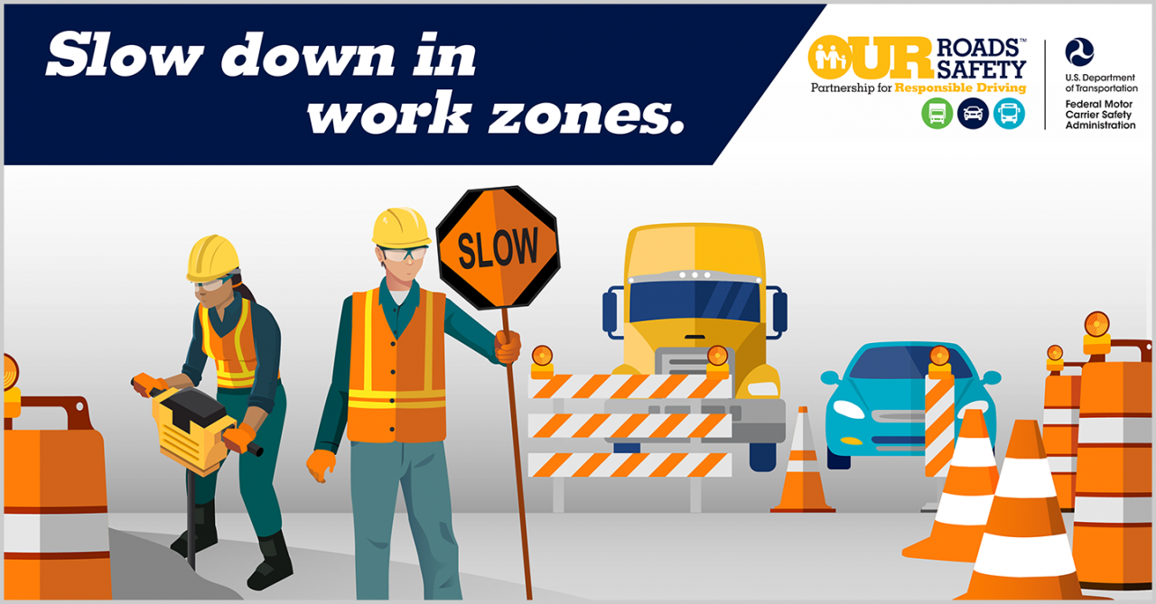 Slow down in work zones; graphic of road workers, one holding a slow sign, with pylons, a truck and a passenger vehicle in the back