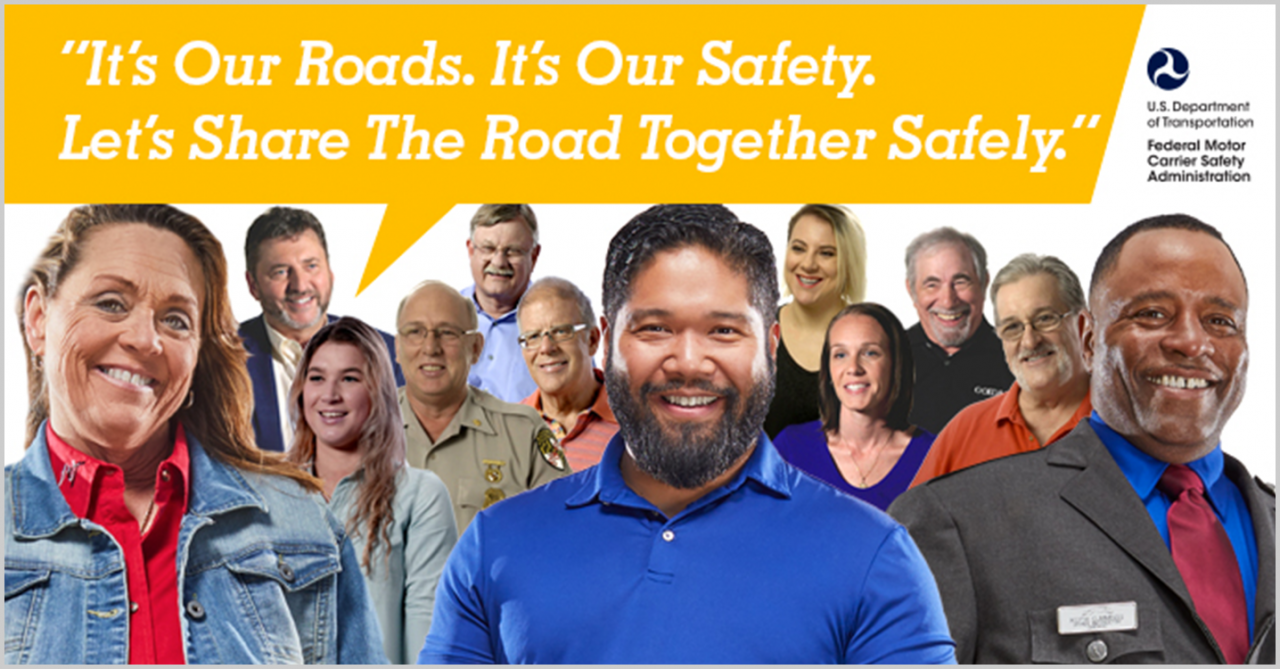 "Facebook banner: ""It's Our Roads. It's Our Safety. Let's Share the Road Together Safely"""