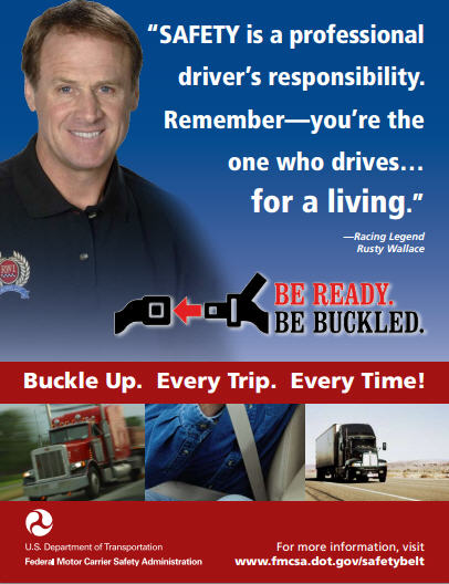 Poster of NASCAR driver Rusty Wallace promoting seat belts
