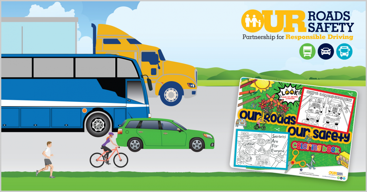 Our Roads Our Safety Brochure graphic depicting truck, bus, car, jogger and bicyclist, as well as a screenshot of the Our Roads coloring book