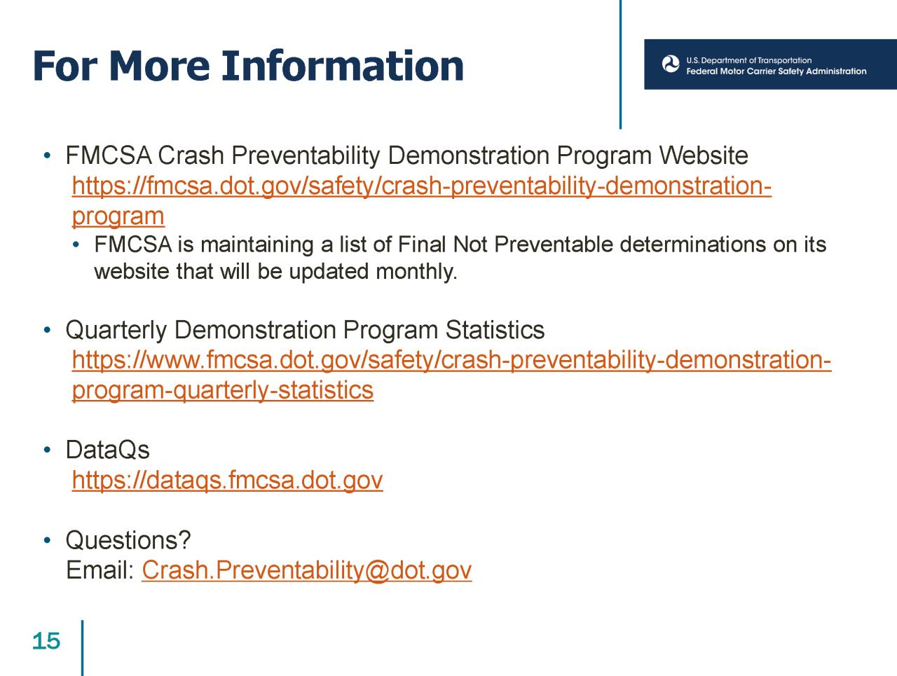 Crash Preventability Demonstration Program Presentation