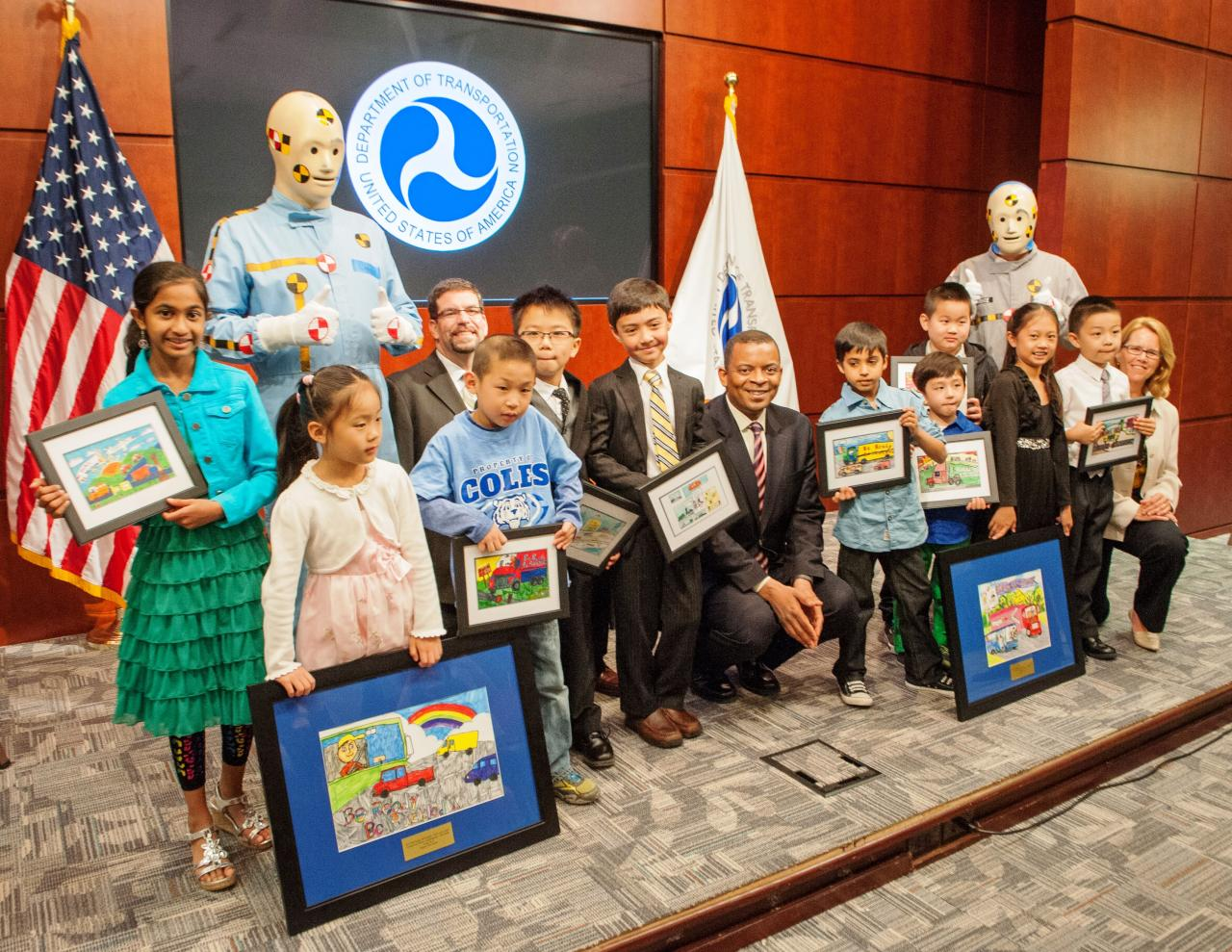 "Contestants from the 2014 ""Be Ready. Be Buckled."" student art contest at the U.S. Department of Transportation (DOT) headquarters on May 5, 2014."