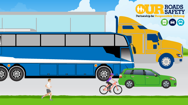 Our Roads Our Safety_graphic with truck bus bike and pedestrian