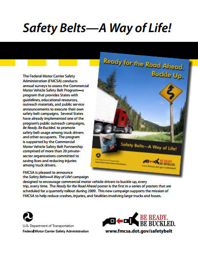 Safety belts a way of life fact sheet federal motor for Motor carrier safety administration