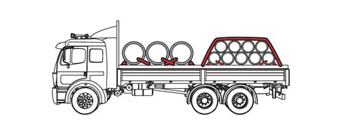 Illustration of truck using blocking systems and tiedowns