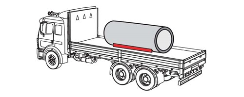 Illustration of a truck using one piece blocking extending half the distance from the center to each end of the pipe