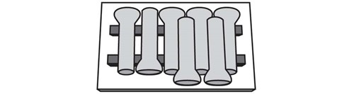 [Diagram of bell pipes on the bottom row are layed in one direction and the pipes in the top row are alligned in the opposite direction. This top row only covers one end of the bottom row.]