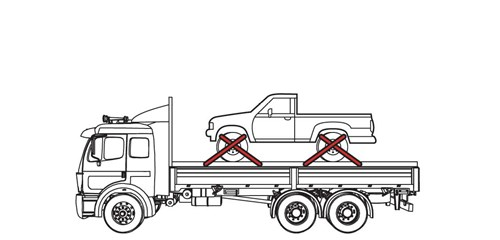 Diagram of light-weight truck tied down in four locations