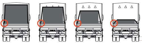 Four diagrams of trucks with cargo tied down. The first truck has cargo that is very tall so the tiedown angle is very close to 90 degrees. The height of the cargo will decrease for the other three trucks but even for the truck with the smallest cargo, its tiedown is still 45 degrees at a minimum.