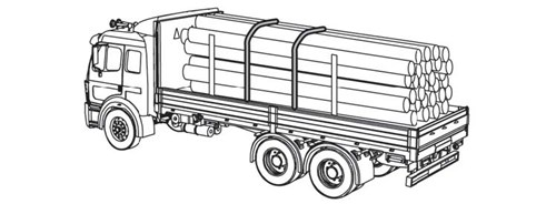 Diagram of a truck cargo of logs. There are two tie downs towards the center and two poles towards to ends of the logs to secure this cargo