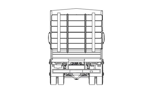 Diagram of back of truck hauling logs. This cargo has two tiedowns down the center of the cargo that start at the top and tie in the bottom. There are also two poles at the top and bottom of the cargo to secure the load.