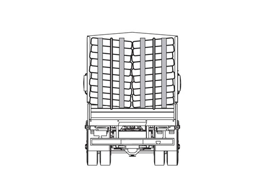 Diagram of back of truck hauling logs.  This cargo has two tiedowns down the center of the cargo that start at the top and tie in the bottom.  There are also two poles at the top and bottom of the cargo to secure the load.  This is a  acceptable securement of one stack loaded crosswise