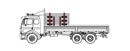 Diagram of truck cargo that has three levels. There are two tiedowns on top level of the cargo, two tiedowns on the second level, and two friction pieces below each level of the cargo.