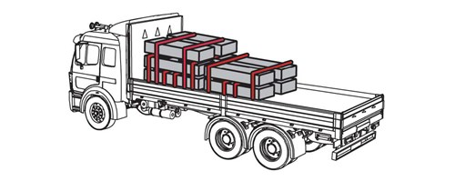 Diagram of truck cargo where one set of cargo has three levels and and second set of cargo has two levels. For both sets of cargo, there are two tiedowns at each level of the cargo.