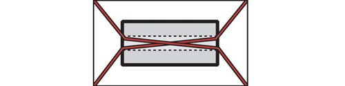 Diagram of two tiedowns that are twisted together inside the metal coil. This is an bad example and represents the X-pattern prohibited for tiedowns