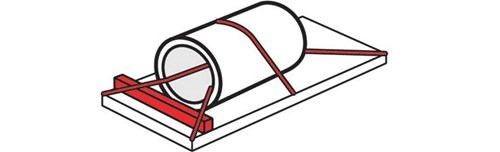 Diagram of an lengthwise coil. This coil had two tiedowns that go through the coil and one tie down that goes over the top. There is also a blocking bar used at the top of the coil to secure the coil.