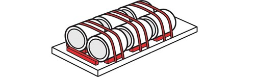 Diagram of 6 lengthwise coils. There are 2 columns of 3 coils where each row of coils has two tiedowns over the top.