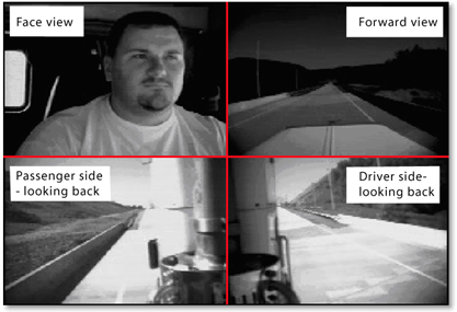 The image consists of four camera views in a quad layout: face view, foward view, driver side looking backward and passenger side looking backward.