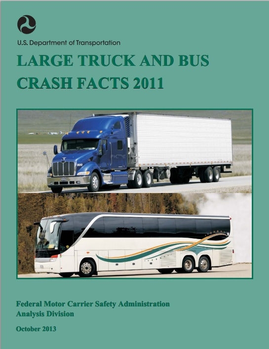 Cover for the 2011 Large Truck and Bus Crash Facts brochure
