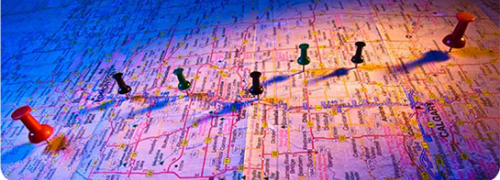 Photo of map with push pins