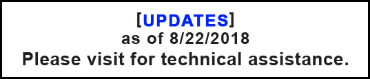 UPDATE as of 8/22/2018: Please visit for technical assistance.