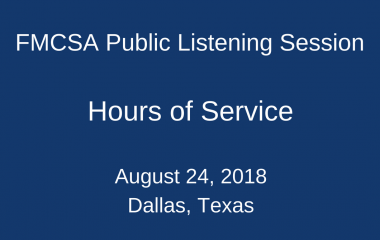 FMCSA holds public listening session on hours-of-service rules for truck drivers.