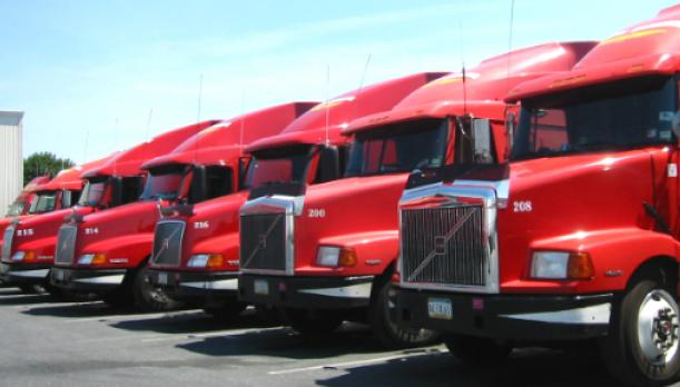 Row of red trucks