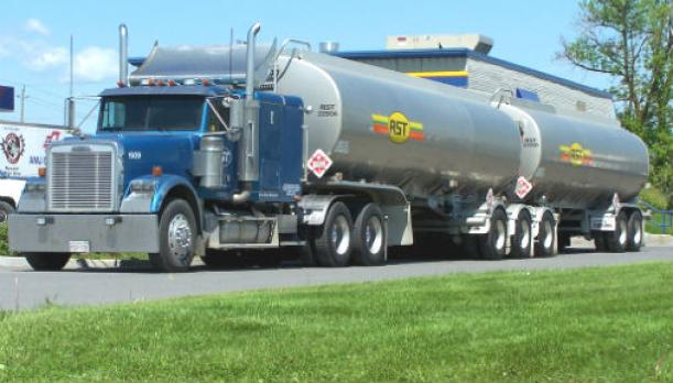 Fuel tanker with placard