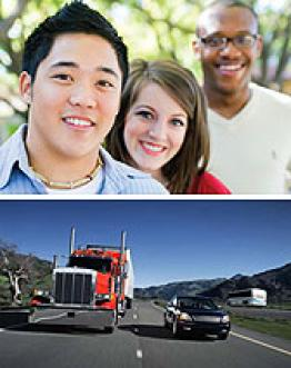 Photos of young people and a truck on the highway